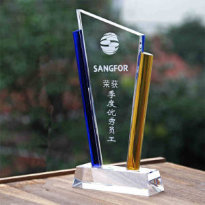Wholesale High-Quality Blue Yellow Crystal Trophy Glass Awards for Business Gifts pictures & photos