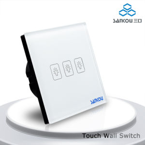 Sankou EU Standard 220V/50~60Hz, 3 Gang 2 Way Black Touch Wall Electric Light Switch Sk-A803-02