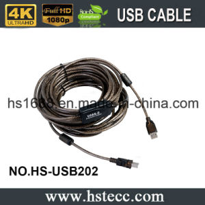 Black 65FT Gold Plated USB Extension Cable for Webcams