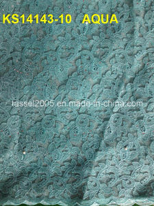 Fresh Pattern Guipure Lace / African Cotton Fabric Fresh Cord Lace Fabric in Royal pictures & photos