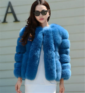 Factory Direct Fashion Pink Lady′s Saga Fox Fur Overcoat /Fox Fur Coat pictures & photos