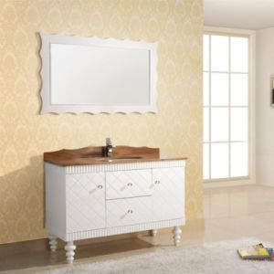 Pure White Oak Wood Hotel Bathroom Furniture Single Sink Vanity pictures & photos