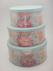Round Tin Set for Christmas Gift Packing Box