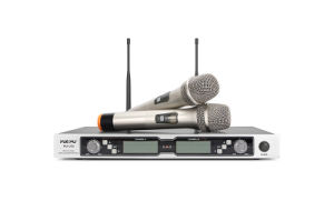 2 Channels Professional UHF Microphone with Two Handheld Mics or Two Transmitters
