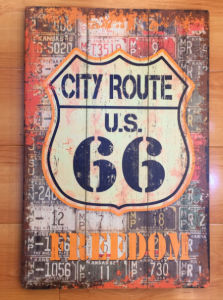 Wholesale Wooden Plaque with Old Route 66 Designs for Wall Decor pictures & photos
