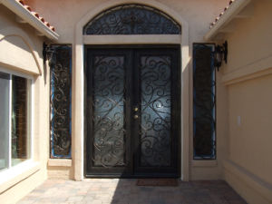 New Style Iron Door Entrance Wrought Iron Door with Transom Window pictures & photos