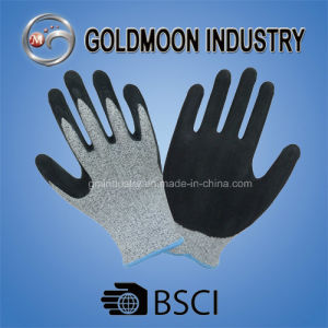 Grey Hppe with Nitrile Sandy Finish Cut Resistance Gloves pictures & photos