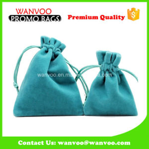 Light Blue Velvet Material Bracelet Jewellery Drawstring Pouch pictures & photos