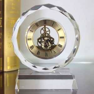 Custom Unique Crystal Glass Desktop Clock for Decoration Gift pictures & photos