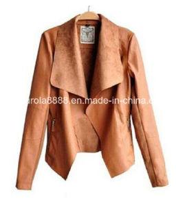 Fashion PU Leather Jacket Faux Ladies Leather Slim Coats Plus Size (PU-12) pictures & photos