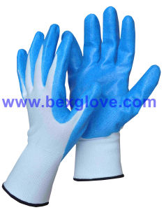13 Gauge Nylon Liner, Nitrile Coating, Flashy Powder Safety Gloves pictures & photos