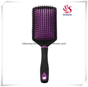 Black Rubber Coating Hairbrush with Cushion