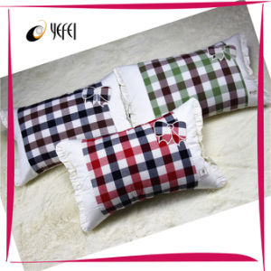 Checked Embroidery Travel Bed Body Decorative Adult Pillow Cover