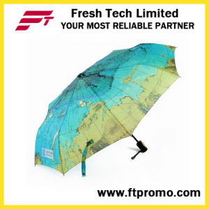 OEM Map Sunflower Folding Umbrella with Logo pictures & photos