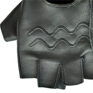 Black Cow Leather Fingerless Gloves for Outdoor Sport pictures & photos