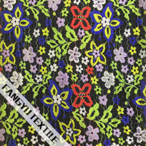 Colorful Flower Pattern Lace Fabric
