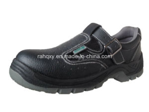 Casual Sandal Style Split Embossed Leather Safety Shoes (HQ05036) pictures & photos