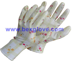 Nitrile Coating, Transparent, 13 Gauge Polyester Liner, Flora Patterns Safety Gloves pictures & photos
