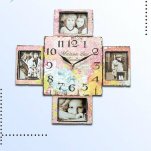 Antique Handmade Wooden Square Clock for Home Decoration pictures & photos