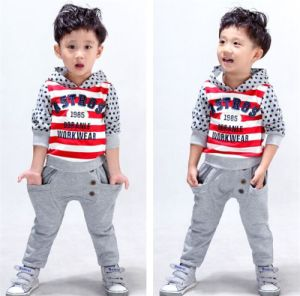 Wholesale Casual Long Sleeve Sports Suit with Hood for Boys pictures & photos