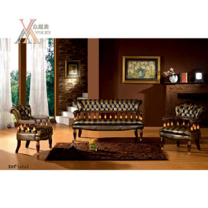 Antique Style Leather Sofa Set (S33)
