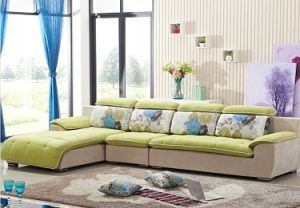 Light Green Color Spring Style Sofa Made of Drapery pictures & photos