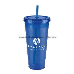 Promotional Plastic Cups with Colorful Straw pictures & photos