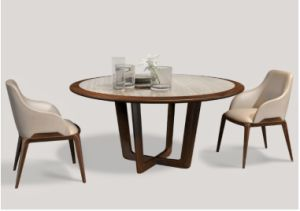 Elegant Design Wood Farme Dining Chair with PU Cushion (DC008) pictures & photos