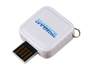 Square Custom Retractable USB Flash Drive with Epoxy Dome Label pictures & photos