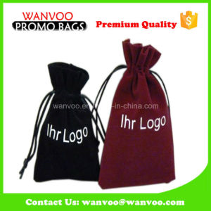 High Quality Custom Printed Simple Drawstring Velvet Watches Phone Bags pictures & photos