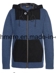 Men′s Long Sleeve Hoodie Style Pure Cashmere Knitwear with Suede pictures & photos