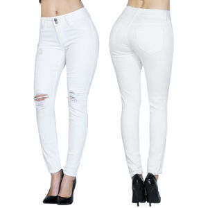 Wholesale White Brand Ladies Skinny Denim Ripped Jeans