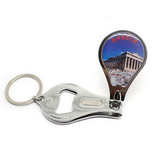 Rectangle Logo Silver Blue Metal Promotion Keychain with Plastic (F1002C) pictures & photos