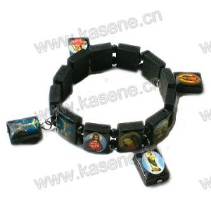 Plastic Rosary Bracelet with Saint Fotos Changeable Wood Medal