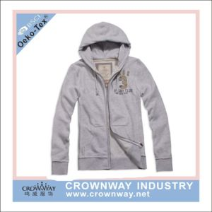 Men Zip Through Hoody Sweater with Applique Embroidery (CW-HS-70) pictures & photos