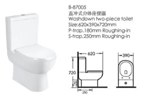 Bathroom Washdown Two-Piece Toilet (87005) pictures & photos