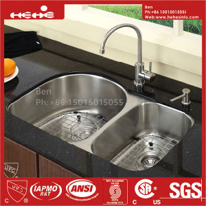 """Cupc Certification 21""""X33-1/2"""" Stainless Steel Under Mount Double Bowl Kitchen Sink pictures & photos"""