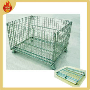 Metal Warehouse Cage Folded Wire Mesh Container pictures & photos