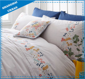 Gray Solid with Flowers Embroidery Cotton Bedsheet Set pictures & photos