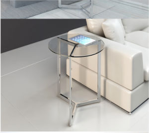 Small Cute Round Glass Coffee Table for Home Use (CCT-010)