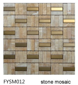 Metal Mixed Natural Stone Tile Marble Mosaic Floor Tile (FYSM012)