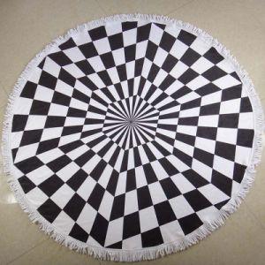 Microfiber Printed Black White Gum Round Beach Towel