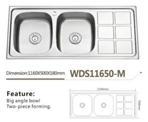 Stainless Kitchen Double Bowl Big Angle Sink Wds11650-M