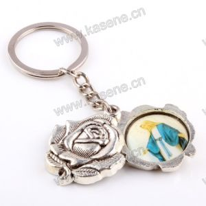 Silver Oxidized Plate Rose Carved Keychain with Pope Francis