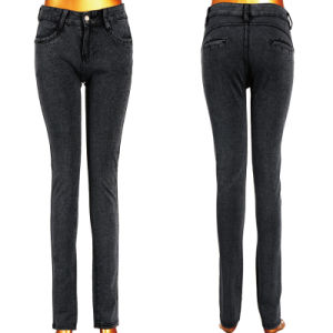 Long Classic Black Lady Stretchy Jeans
