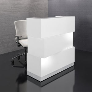 Customized Modern U Shape LED Lights Solid Surface Office Reception Desk Counter pictures & photos