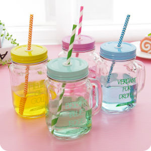 500ml Customized Drinking Glass Mason Jar with Handle and Lid pictures & photos