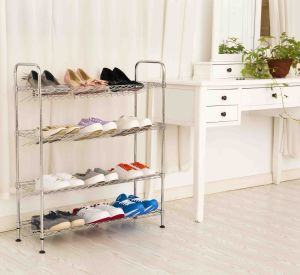 Low Price 4 Layers DIY Chrome Iron Corner Shoe Rack Holder pictures & photos