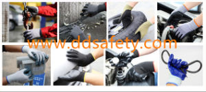 Ddsafety 2017 Black Nylon Black Nitrile Foam Glove pictures & photos