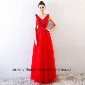 Sexy V-Neck A Line Elastic Satin Transparent Wedding Dress pictures & photos